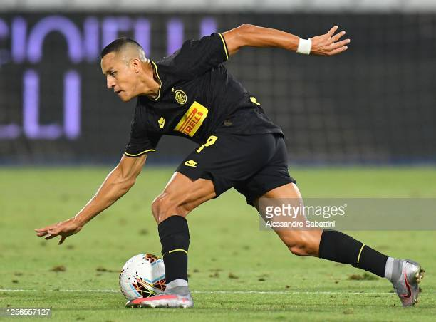 Alexis Sanchez of FC Internazionale in action during the Serie A match between SPAL and FC Internazionale at Stadio Paolo Mazza on July 16 2020 in...