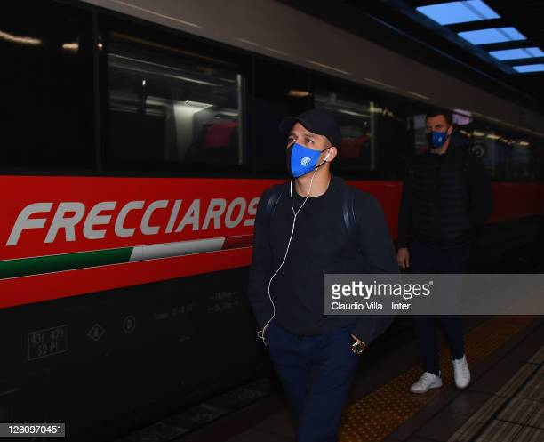 Alexis Sanchez of FC Internazionale leaves from Rho Fiera Station for Florence on January 22, 2021 in Milan, Italy.