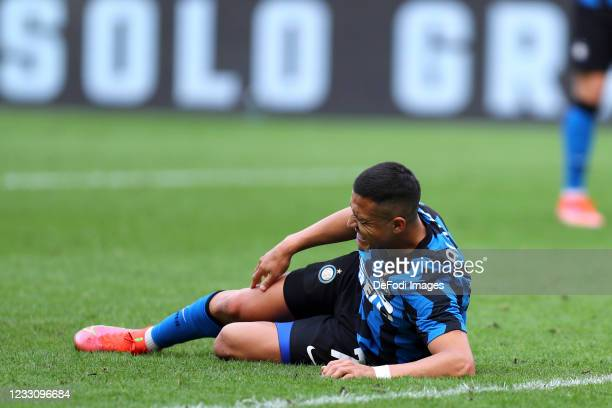 Alexis Sanchez of FC Internazionale lies on the ground during the Serie A match between FC Internazionale Milano and Udinese Calcio at Stadio...