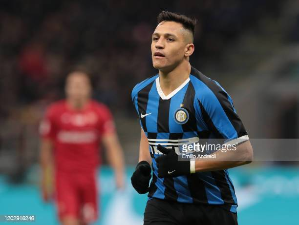 Alexis Sanchez of FC Internazionale looks on during the Coppa Italia Quarter Final match between FC Internazionale and ACF Fiorentina at San Siro on...