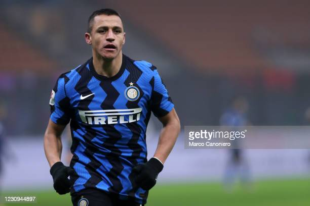 Alexis Sanchez of Fc Internazionale looks on during the Coppa Italia Semi-final first leg match between Fc Internazionale and Juventus Fc. Juventus...