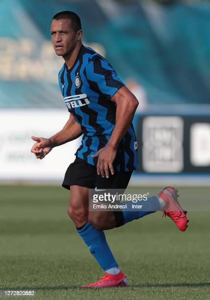 Alexis Sanchez of FC Internazionale looks on during the PreSeason Friendly match between FC Internazionale and Lugano at the club's training ground...