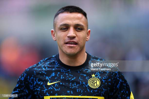 Alexis Sanchez of Fc Internazionale looks on during warm up before the Serie A match between Fc Internazionale and Udinese Calcio. Fc Internazionale...