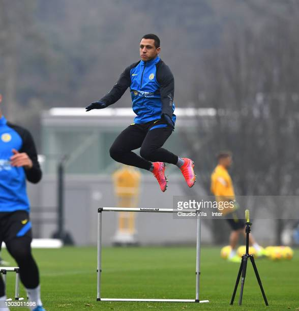 Alexis Sanchez of FC Internazionale of FC Internazionale in action during a training session at Appiano Gentile on February 19, 2021 in Como, Italy.