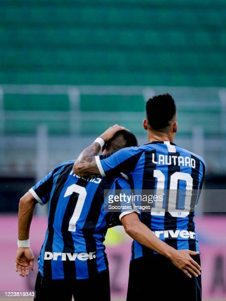 Alexis Sanchez of Internazionale celebrates 2-0 with Lautaro Martinez of Internazionale during the Italian Serie A match between Internazionale v...