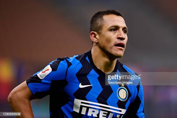 Alexis Sanchez of Internazionale during the Italian Serie A match between Internazionale v Juventus at the San Siro on February 2, 2021 in Milan Italy