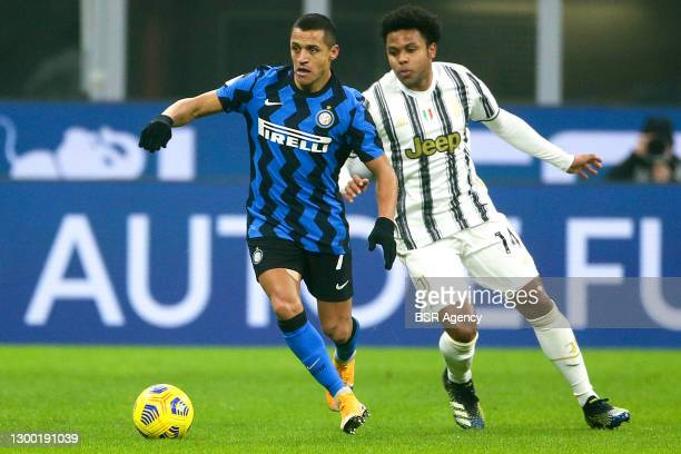 Alexis Sanchez of Internazionale, Weston McKennie of Juventus during the Coppa Italia match between Internazionale and Juventus at San Siro Stadium...