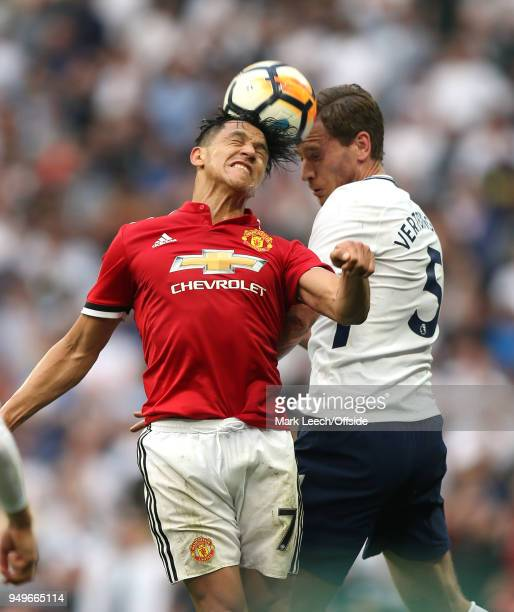 Alexis Sanchez of Man Utd and Jan Vertonghen of Tottenham both attempt to head the ball during the FA Cup semi final between Manchester United and...