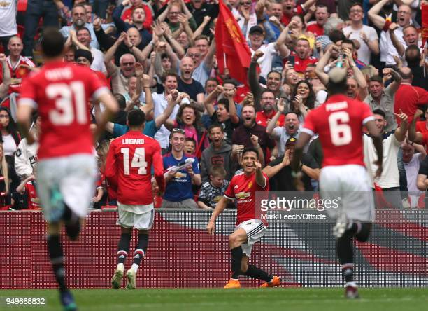 Alexis Sanchez of Man Utd celebrates his goal during the FA Cup semi final between Manchester United and Tottenham Hotspur at Wembley Stadium on...