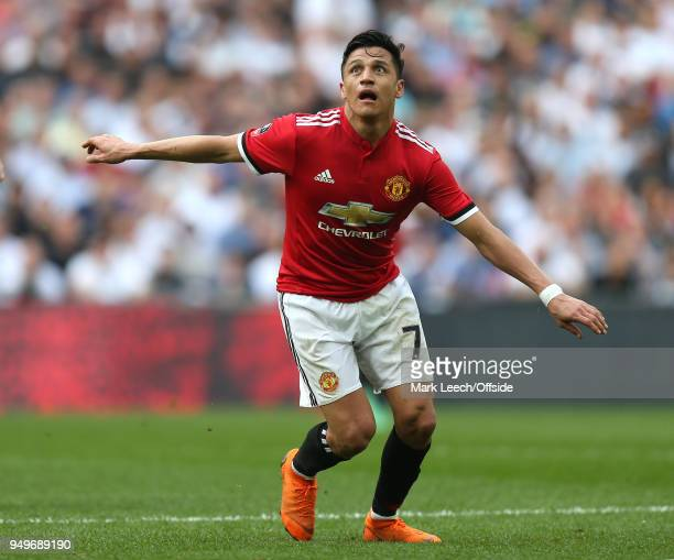 Alexis Sanchez of Man Utd during the FA Cup semi final between Manchester United and Tottenham Hotspur at Wembley Stadium on April 21 2018 in London...