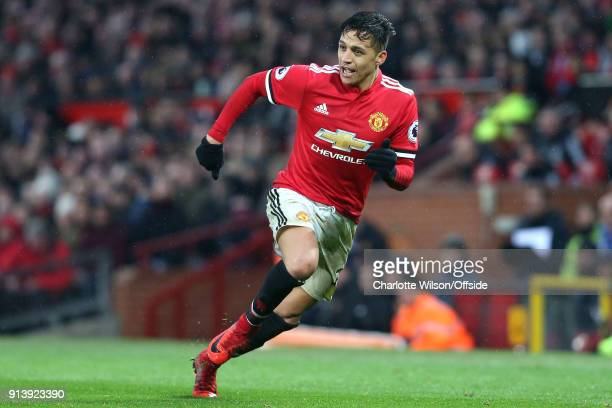 Alexis Sanchez of Man Utd during the Premier League match between Manchester United and Huddersfield Town at Old Trafford on February 3 2018 in...