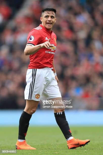Alexis Sanchez of Man Utd gestures during the Premier League match between Manchester United and Liverpool at Old Trafford on March 10 2018 in...