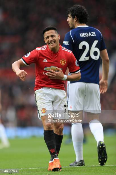 Alexis Sanchez of Man Utd gestures during the Premier League match between Manchester United and West Bromwich Albion at Old Trafford on April 15...