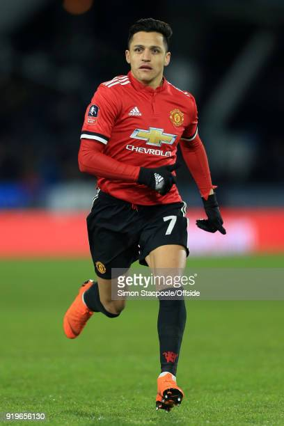 Alexis Sanchez of Man Utd in action during The Emirates FA Cup Fifth Round match between Huddersfield Town and Manchester United at the John Smith's...