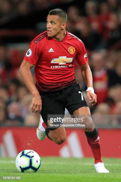 Alexis Sanchez of Man Utd in action during the Premier League match between Manchester United and Leicester City at Old Trafford on August 10 2018 in...