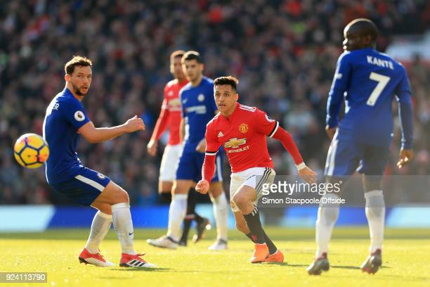 Alexis Sanchez of Man Utd in action during the Premier League match between Manchester United and Chelsea at Old Trafford on February 25 2018 in...
