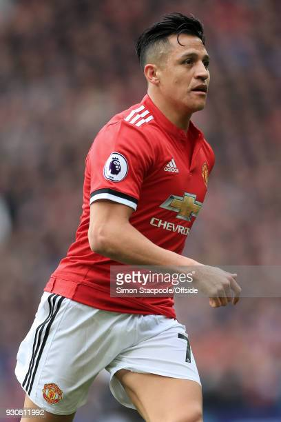 Alexis Sanchez of Man Utd in action during the Premier League match between Manchester United and Liverpool at Old Trafford on March 10 2018 in...