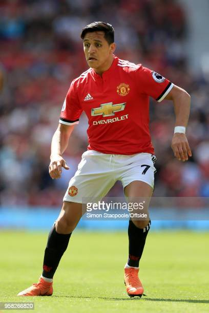Alexis Sanchez of Man Utd in action during the Premier League match between Manchester United and Watford at Old Trafford on May 13 2018 in...