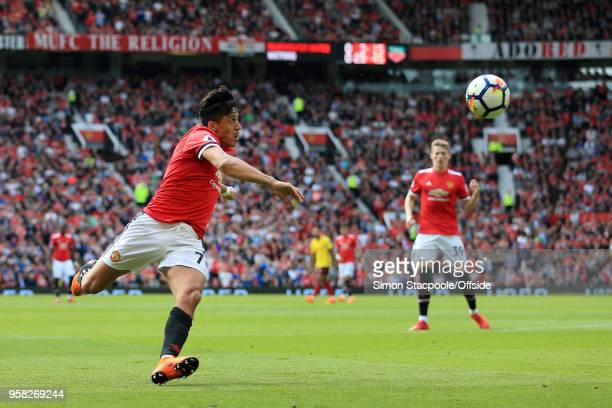 Alexis Sanchez of Man Utd keeps his eye on the ball during the Premier League match between Manchester United and Watford at Old Trafford on May 13...