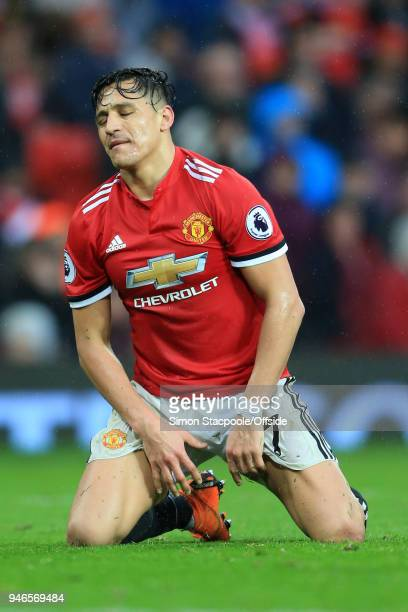 Alexis Sanchez of Man Utd looks dejected during the Premier League match between Manchester United and West Bromwich Albion at Old Trafford on April...