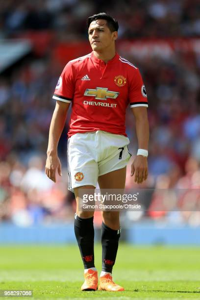 Alexis Sanchez of Man Utd looks dejected during the Premier League match between Manchester United and Watford at Old Trafford on May 13 2018 in...