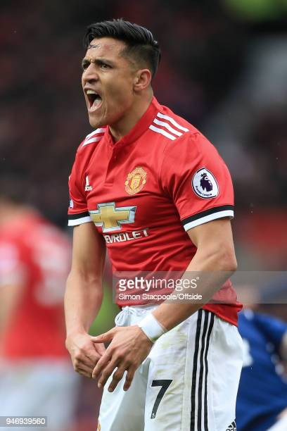 Alexis Sanchez of Man Utd reacts angrily during the Premier League match between Manchester United and West Bromwich Albion at Old Trafford on April...