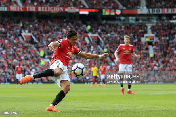 Alexis Sanchez of Man Utd shoots during the Premier League match between Manchester United and Watford at Old Trafford on May 13 2018 in Manchester...