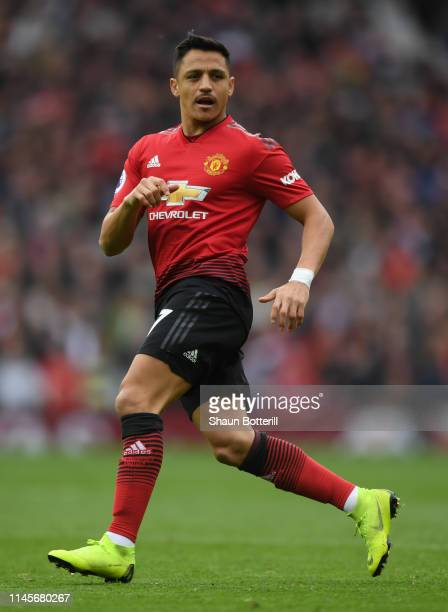 Alexis Sanchez of Mancester United during the Premier League match between Manchester United and Chelsea FC at Old Trafford on April 28 2019 in...