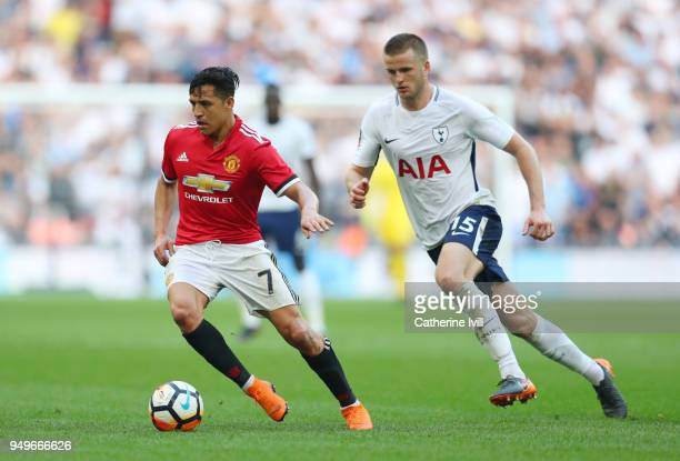 Alexis Sanchez of Manchester United and Eric Dier of Tottenham Hotspur during The Emirates FA Cup Semi Final between Manchester United and Tottenham...