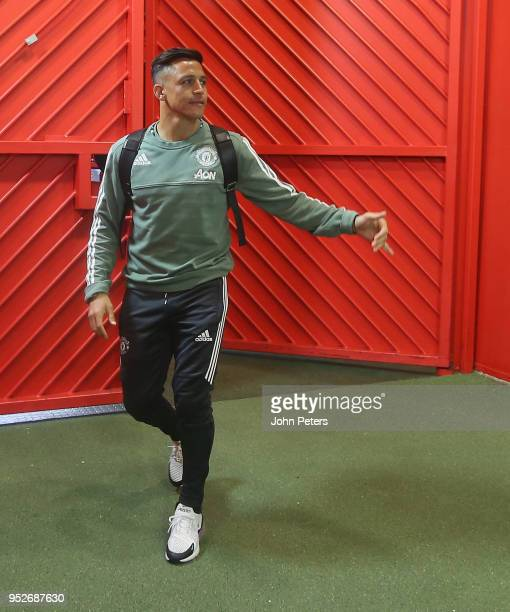Alexis Sanchez of Manchester United arrives ahead of the Premier League match between Manchester United and Arsenal at Old Trafford on April 29 2018...
