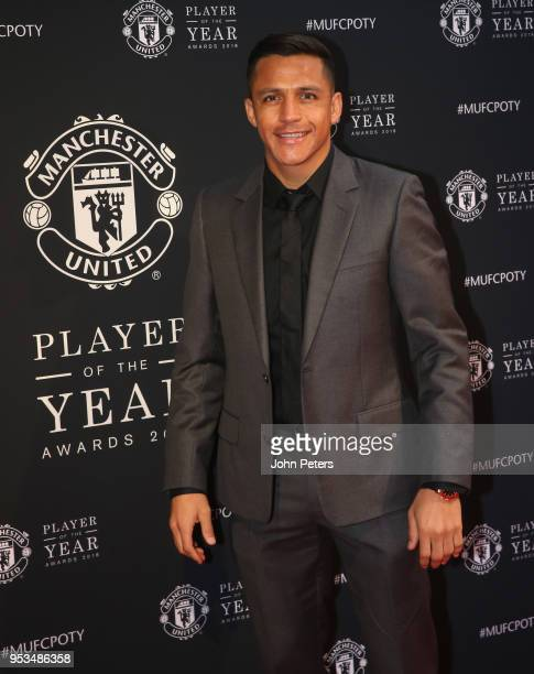 Alexis Sanchez of Manchester United arrives at Old Trafford ahead of the club's annual Player of the Year awards at Old Trafford on May 1 2018 in...