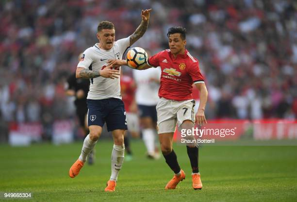 Alexis Sanchez of Manchester United battles for possesion with Kieran Trippier of Tottenham Hotspur during The Emirates FA Cup Semi Final match...