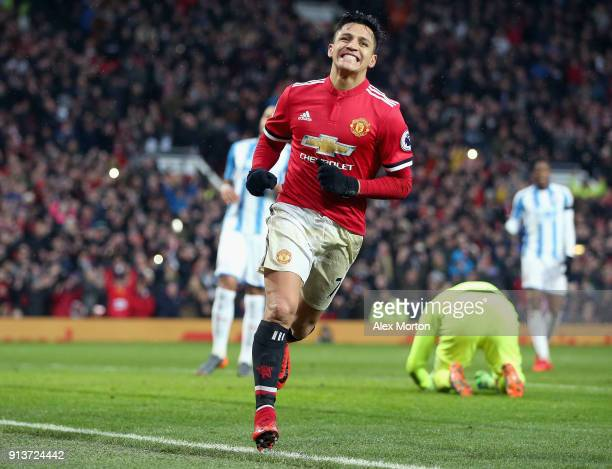 Manchester united fc stock photos and pictures getty images alexis sanchez of manchester united celebrates after scoring his sides second goal during the premier league voltagebd Image collections