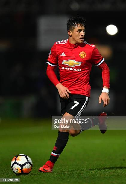 Alexis Sanchez of Manchester United controls the ball during the Emirates FA Cup Fourth Round match between Yeovil Town and Manchester United at...