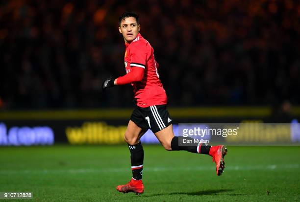 Alexis Sanchez of Manchester United during The Emirates FA Cup Fourth Round match between Yeovil Town and Manchester United at Huish Park on January...