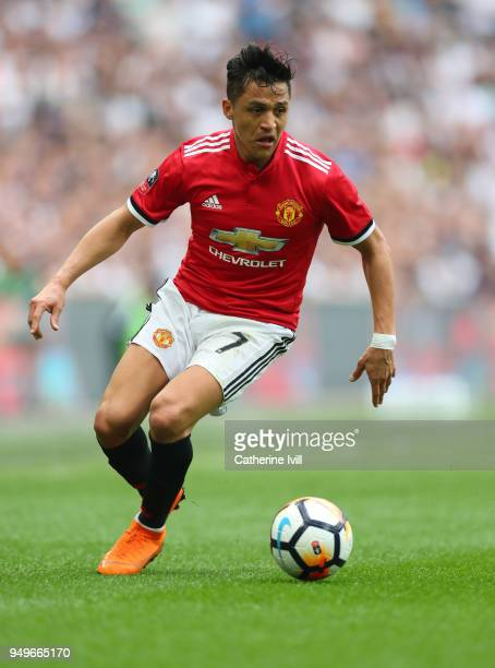 Alexis Sanchez of Manchester United during The Emirates FA Cup Semi Final between Manchester United and Tottenham Hotspur at Wembley Stadium on April...