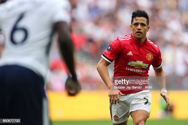 Alexis Sanchez of Manchester United during The Emirates FA Cup Semi Final match between Manchester United and Tottenham Hotspur at Wembley Stadium on...