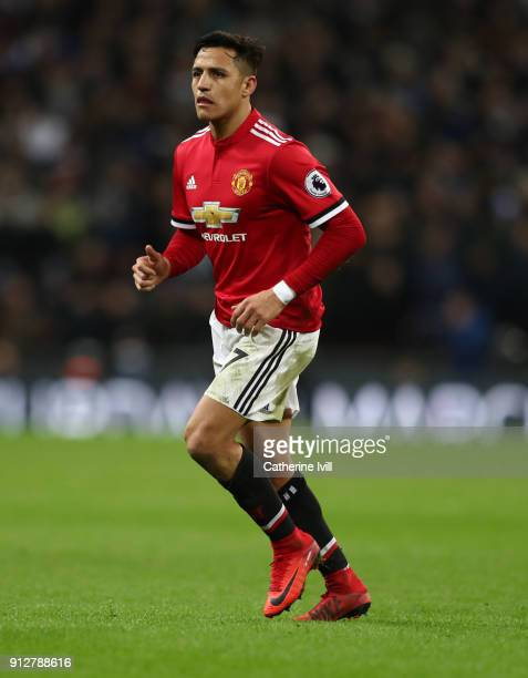 Alexis Sanchez of Manchester United during the Premier League match between Tottenham Hotspur and Manchester United at Wembley Stadium on January 31...