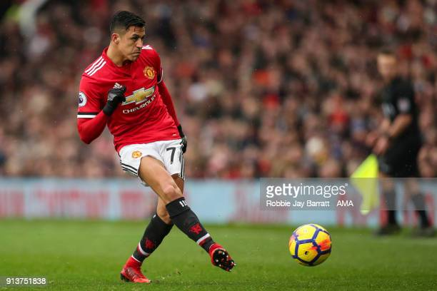 Alexis Sanchez of Manchester United during the Premier League match between Manchester United and Huddersfield Town at Old Trafford on February 3...