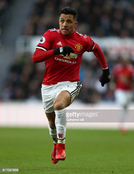 Alexis Sanchez of Manchester United during the Premier League match between Newcastle United and Manchester United at St James Park on February 11...