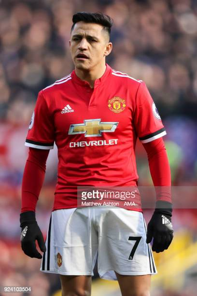 Alexis Sanchez of Manchester United during the Premier League match between Manchester United and Chelsea at Old Trafford on February 25 2018 in...