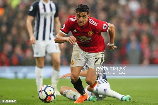 Alexis Sanchez of Manchester United during the Premier League match between Manchester United and West Bromwich Albion at Old Trafford on April 15...