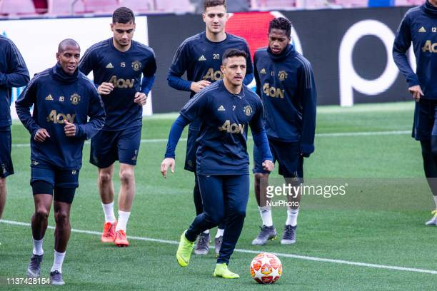 07 Alexis Sanchez of Manchester United during the training session before the second leg Champions League match of Quarter final between FC Barcelona...