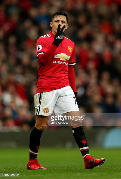 Alexis Sanchez of Manchester United gestures during the Premier League match between Manchester United and Huddersfield Town at Old Trafford on...