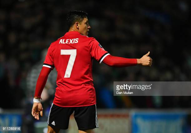 Alexis Sanchez of Manchester United gives a thumbs up during the Emirates FA Cup Fourth Round match between Yeovil Town and Manchester United at...