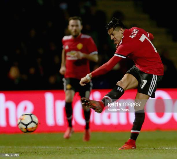 Alexis Sanchez of Manchester United has a shot on goal during the Emirates FA Cup Fourth Round match between Yeovil Town and Manchester United at...