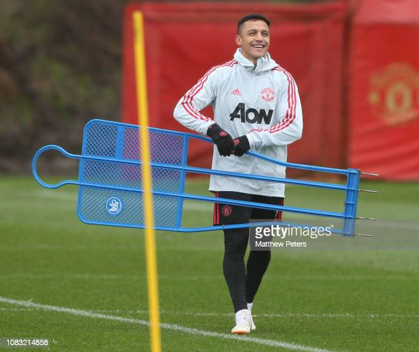 Alexis Sanchez of Manchester United in action during a first team training session at Aon Training Complex on January 16 2019 in Manchester England