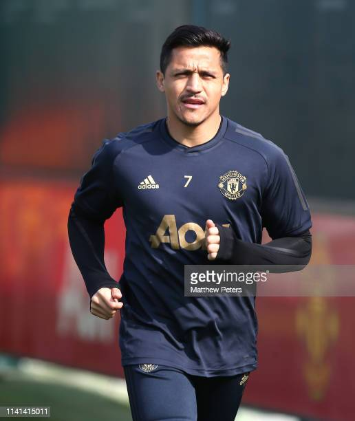 Alexis Sanchez of Manchester United in action during a first team training session at Aon Training Complex on April 09, 2019 in Manchester, England.
