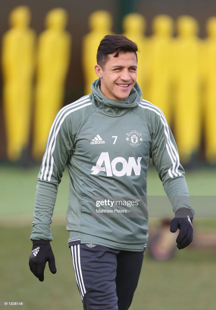 Alexis Sanchez of Manchester United in action during a first team training session at Aon Training Complex on January 28, 2018 in Manchester, England.