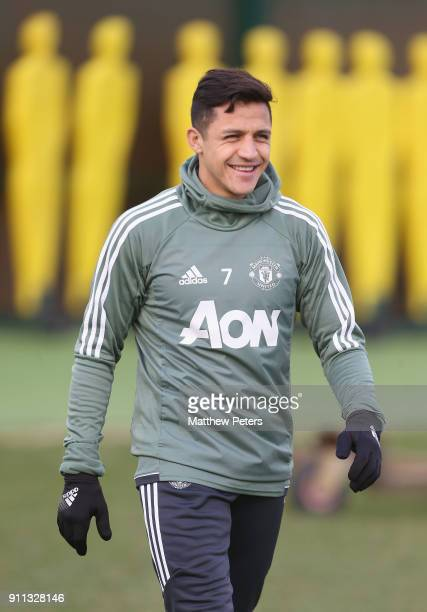 Alexis Sanchez of Manchester United in action during a first team training session at Aon Training Complex on January 28 2018 in Manchester England